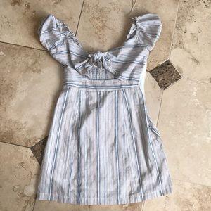 Neutral color stripes dress